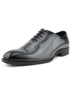Bolano Mens Exotic Faux EEL Skin Oxford Lace-Up Dress Shoes with Black Burnished Toe, Style Brayden