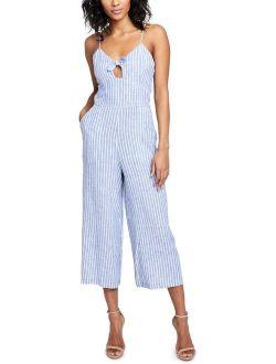 Rachel Rachel Roy Womens Striped Cropped Jumpsuit Blue 10