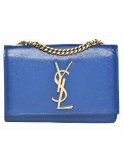 Saint Laurent Monogram Kate Chain Small Blue Leather Cross Body Bag