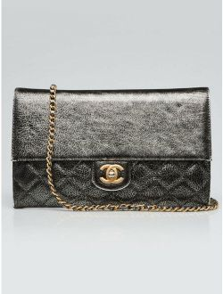 Chanel Dark Silver Quilted Leather Chain Flap Crossbody Bag