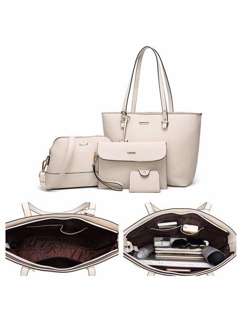 ELIMPAUL Elim & Paul Fashion Handbags Tote Bag Shoulder Bag Top Handle Satchel Purse Set 4pcs for women