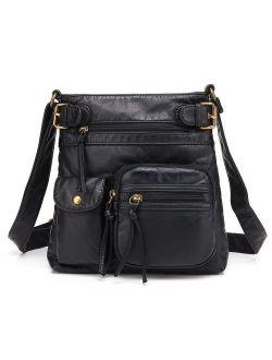 Multi Pocket Crossbody Bag For Women, Shoulder Bag, Ultra Soft Washed Vegan Leather Shoulder Purse, H1833