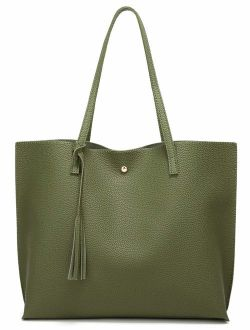 Soft Faux Leather Tote Shoulder Bag from Dreubea, Big Capacity Tassel Handbag