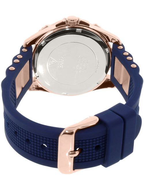 GUESS Women's Rose Gold-Tone Silicone Watch U0325L8