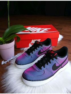 8.5 Women's Nike Air Force One 1 Blue Pink White Sneakers Organza Reflect