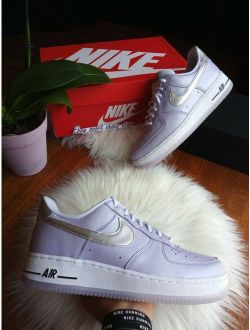 Women's Nike Air Force Silver Purple Violet Af1 Ci9912 500 Casual Sneakers