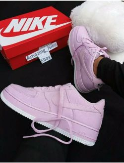 | 9 Womens Nike Af1 Air Force 1 Low Pink Rose Baby Casual Sneakers White