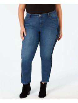 Style & Co. 5767 Plus Size 24W NEW Blue Skinny-Leg Jeans Flocked Brocade $74