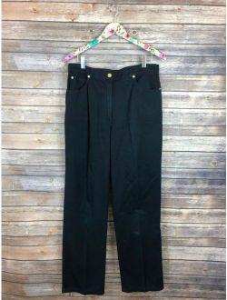 St. John Sport Women's Size 12 Marie Gray Navy Blue Chino Pants Cotton JG17