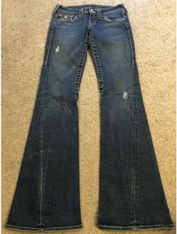 Stretch Distressed Joey Low Rise Flare Jeans Womens 26