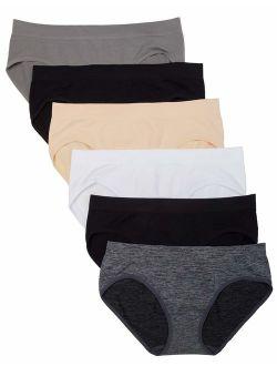 Kalon 6 Pack Women's Hipster Brief Nylon Spandex Underwear