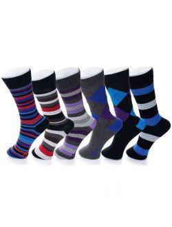 6 Pack Mens Cotton Dress Socks Mid Calf Argyle Pattern Solids Set