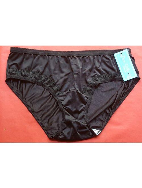 3 Pair Dixie Belle BLACK 100% Nylon BIKINI PANTIES Size 5 Lace Front USA Made