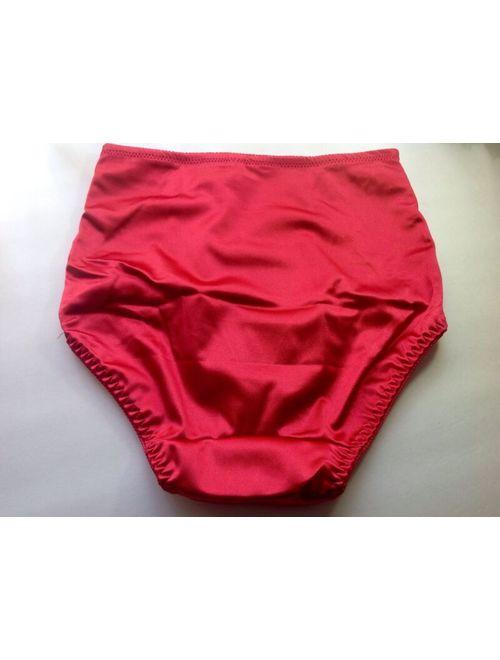 Women Panties,Briefs,Control Panties Ann Diane Size 3XL Red Satin W/2 Pockets