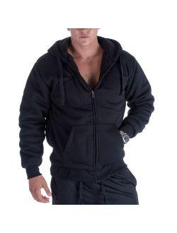 Gary Com Heavyweight Hoodies for Men, 1.8lbs Sherpa Lined Fleece Full Zip Up Plus Size Winter Sweatshirts Jackets