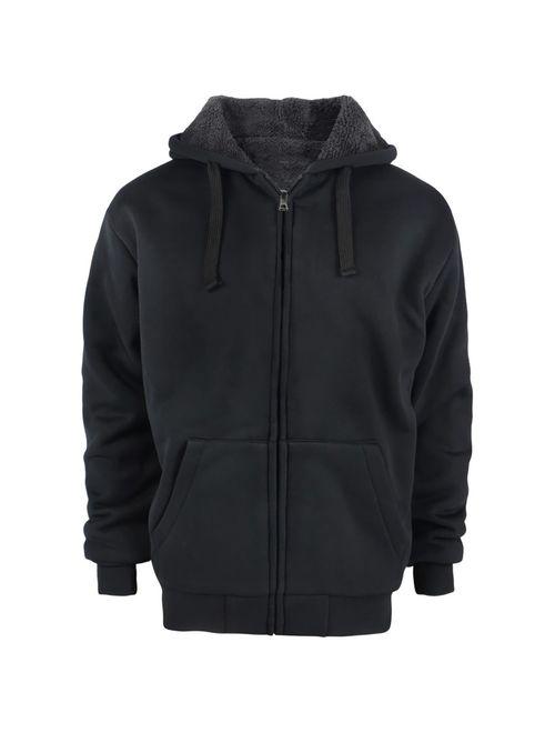 Men Winter Warm Sherpa Fleece Hoodie Zip UP Sweater Jacket Fur Lined Hooded Coat