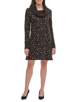 Leopard-Print Sweater Dress