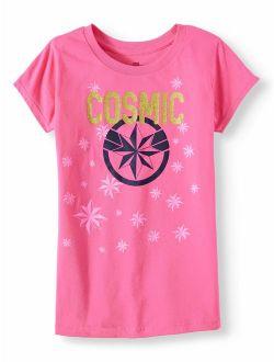Captain Marvel Glitter Cosmic Shield Graphic T-shirt (little Girls & Big Girls)