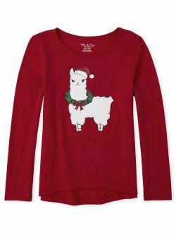 Girls 4-16 Christmas Llama Graphic High-low Long Sleeve T-shirt