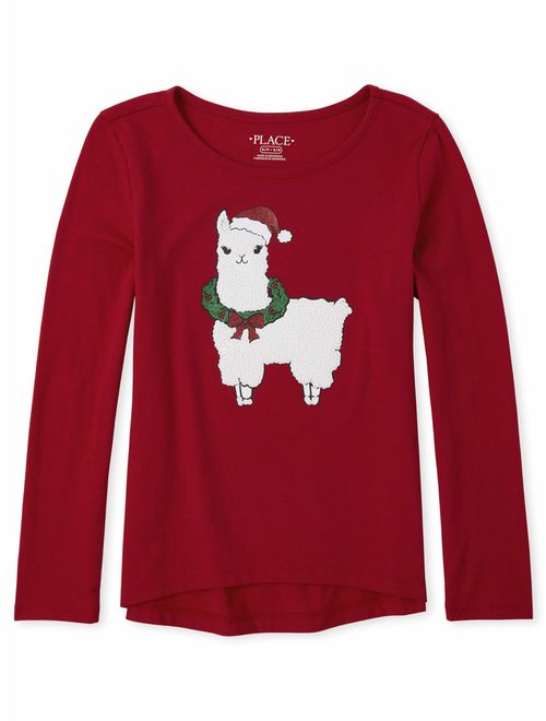 The Children's Place Girls 4-16 Christmas Llama Graphic High-Low Long Sleeve T-Shirt