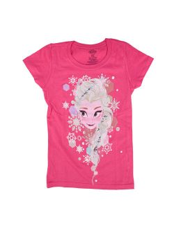 Frozen Elsa Face Toddlers Pink T-shirt | 5/6