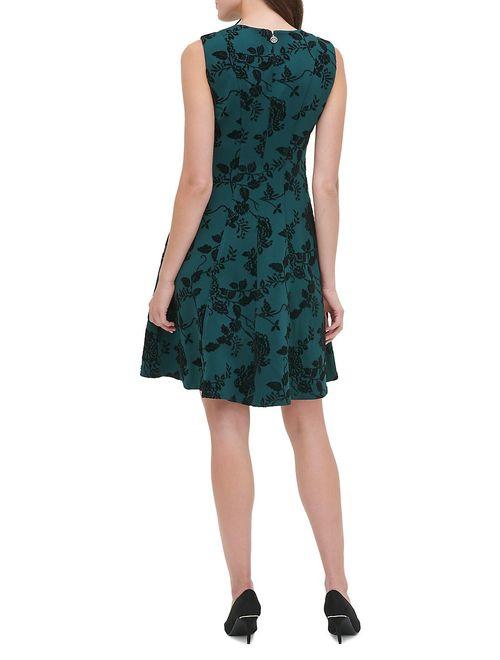 Annabel Flocked Scuba Fit-&-Flare Dress
