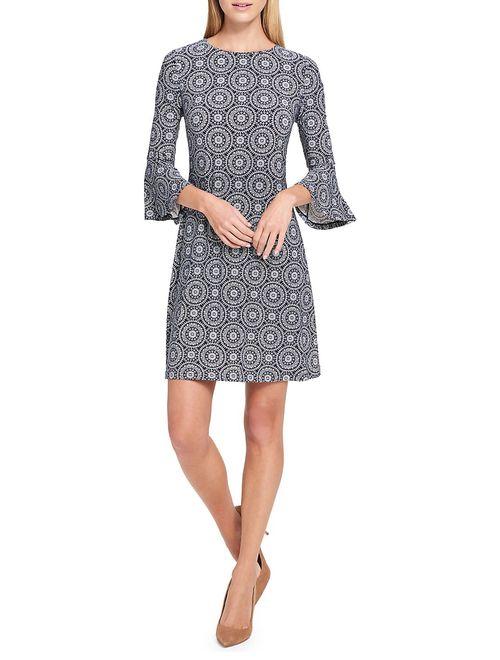 Daisy Chain-Print Bell-Sleeve A-Line Dress