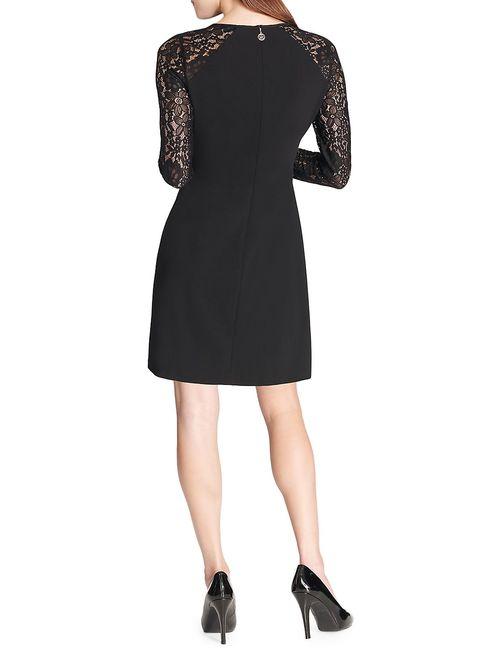 Lace-Sleeve Scuba Crepe Shift Dress