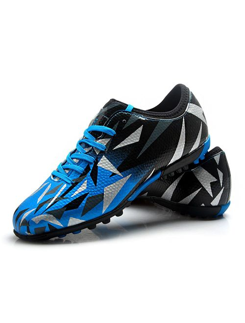 Tiebao Unisex Kids Adults Lace Up Rubber Cleats Football Shoes Boots for Hard Artificial Ground Indoor