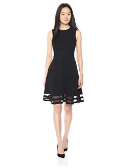 Women's Sleeveless Round Neck Fit And Flare Dress With Sheer Inserts At Hem