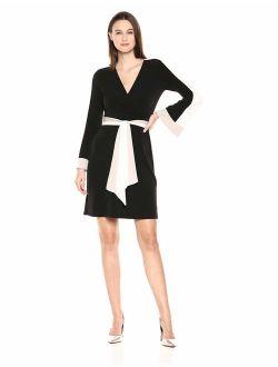 Women's Color Block Faux Wrap Dress