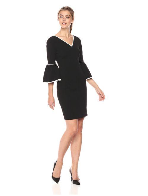 Calvin Klein V-Neck Bell Sleeve Dress