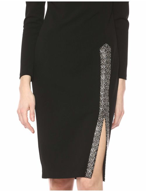 Calvin Klein Women's Long Sleeve Sheath with Embellished Slit Dress