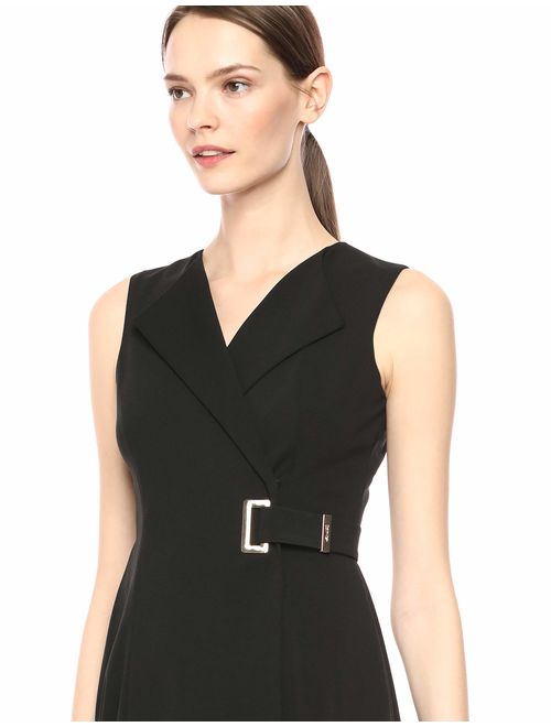 Calvin Klein Women's Sleeveless Collared a Line Faux Wrap Dress