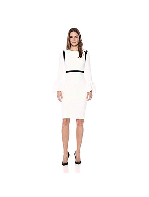 Calvin Klein Women's Bell Sleeve Sheath with Piping Cd7c11ev