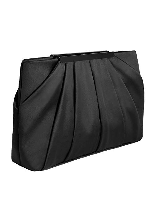 Womens Pleated Satin Evening Handbag Clutch With Detachable Chain Strap Wedding Cocktail Party Bag