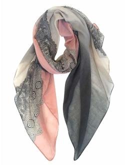 GERINLY Lightweight Cotton Scarf Fashion Lace Designed Women Wrap Shawls