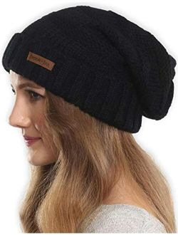 Slouchy Cable Knit Beanie For Women - Warm & Cute Oversized Slouch Winter Hats - Thick, Chunky & Soft Stretch Knitted Caps for Cold Weather - Stylish & Trendy Snow Cuff B
