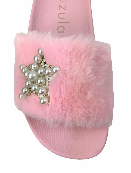 Girls Kids Slides Fur Fuzzy Slipper Flats
