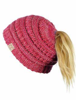 C.C BeanieTail Kids' Children's Soft Cable Knit Messy High Bun Ponytail Beanie Hat
