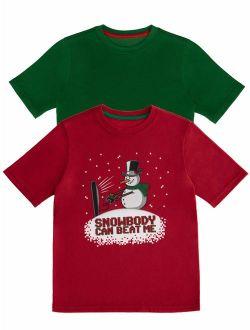 Christmas Long Sleeve Graphic T-shirt - 2 Pack Value Bundle (little Boys, Big Boys & Husky)