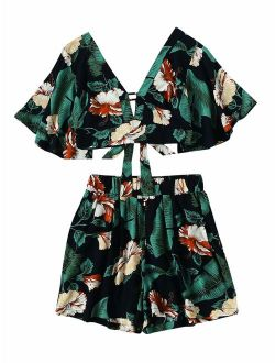 Women's 2 Piece Set Plunging V-neck Fower Printed Tie Back Crop Top And Shorts
