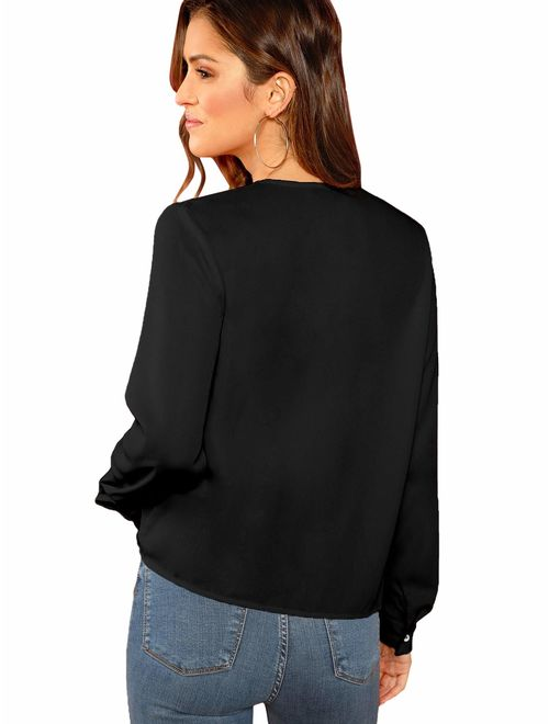 SheIn Women's Sexy Deep V Neck Long Sleeve Drape Wrap Tops Chiffon Blouse