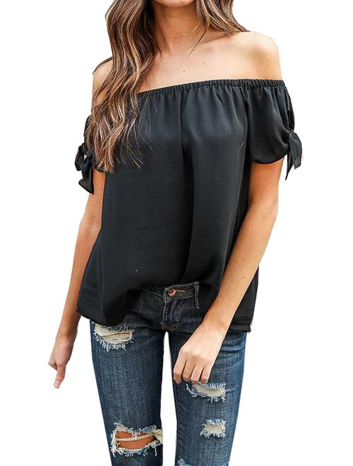 Relipop Summer Women's Short Sleeve Off Shoulder Tops Casual Shirt Blouses