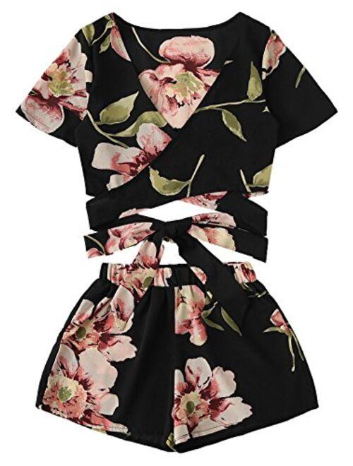 SweatyRocks Women's 2 Piece Boho Floral Print Crop Cami Top with Shorts Set