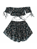 DEZZAL ZAFUL Womens Two Piece Off Shoulder Floral Smocked Crop Top and Shorts Set