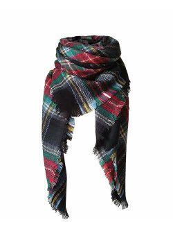 Women's Tassels Soft Plaid Tartan Scarf Winter Large Blanket Wrap Shawl
