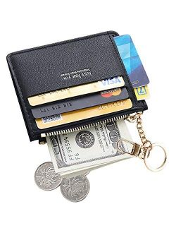 Cyanb Slim Leather Card Case Holder Front Pocket keychain Wallet Change Purse for Women Girls