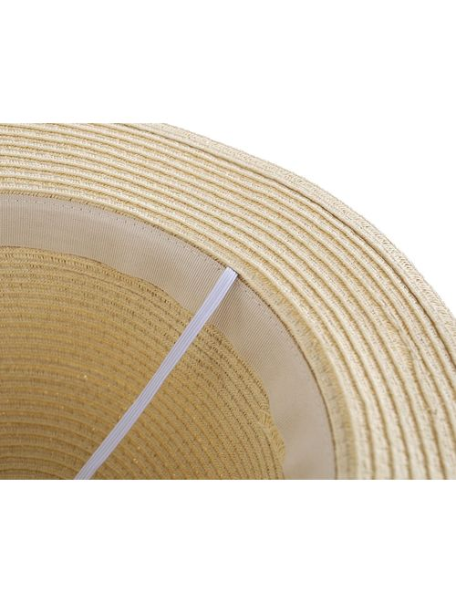 Connectyle Kids Summer Straw Hat Bowknot Beach Sun Protection Hats for Girls