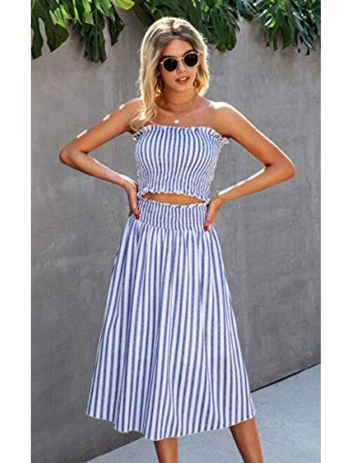 Angashion Women's Floral Crop Top Maxi Skirt Set 2 Piece Outfit Dress
